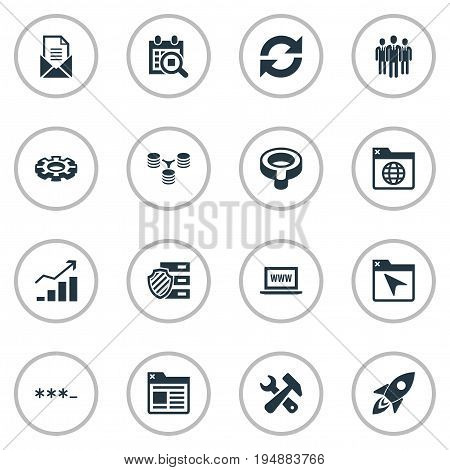 Vector Illustration Set Of Simple SEO Icons. Elements Letter, Protected Folder, World Wide Web And Other Synonyms Protected, Logistic And Clipboard.