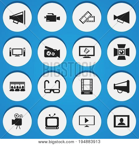 Set Of 16 Editable Movie Icons. Includes Symbols Such As Audience, Film Spectacles, Tripod And More. Can Be Used For Web, Mobile, UI And Infographic Design.