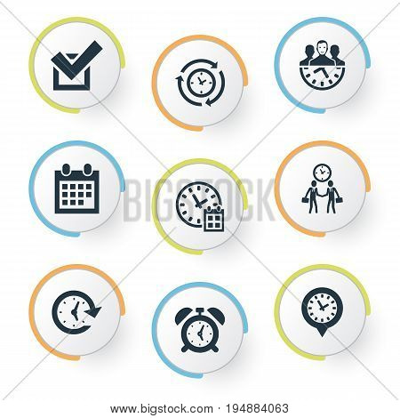 Vector Illustration Set Of Simple Time Icons. Elements Calendar, Interval, Velocity And Other Synonyms Time, Pin And Objective.