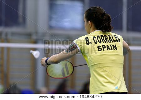 ST. PETERSBURG, RUSSIA - JULY 7, 2017: Beatriz Corrales of Spain (pictured) vs Yaelle Hoyaux of France in 3rd day of badminton tournament White Nights. Corrales won 2-0