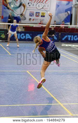 ST. PETERSBURG, RUSSIA - JULY 7, 2017: Victoria Slobodyanyuk of Russia (pictured) vs Airi Mikkela of Finland in 3rd day of badminton tournament White Nights. Mikkela won 2-0