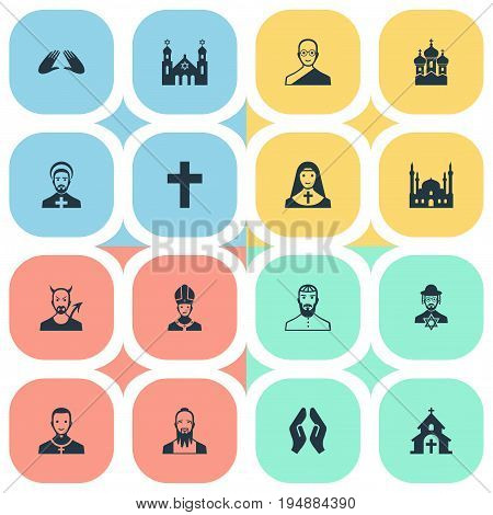 Vector Illustration Set Of Simple Faith Icons. Elements Pontiff, Cleric, Chapel And Other Synonyms Invocation, Clergyman And Judaic.