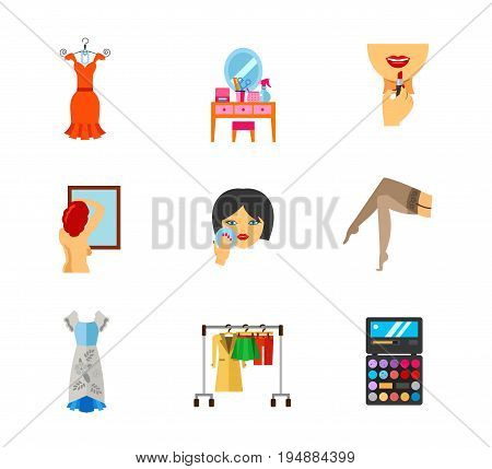Female issues icon set. Evening dress Dressing table Applying lipstick on lips Breast exam Powdering Female legs in stockings Hanger rack Palette. Contains bonus icons of Muumuu