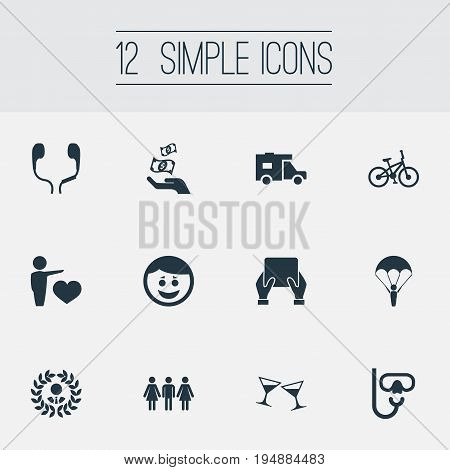 Vector Illustration Set Of Simple Fashion Icons. Elements Celebration, Medicine, Prosperity And Other Synonyms Joy, Bicycle And Family.