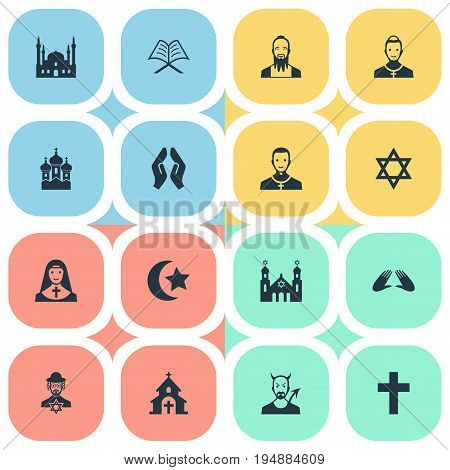 Vector Illustration Set Of Simple Faith Icons. Elements Devil, Taoism, Christian And Other Synonyms Invocation, Priestess And Crucifix.