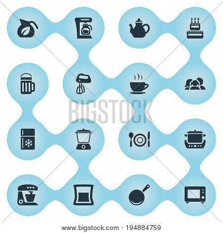 Vector Illustration Set Of Simple Cuisine Icons. Elements Skillet, Hot Cup, Stir And Other Synonyms Coffee, Dispenser And Stove.