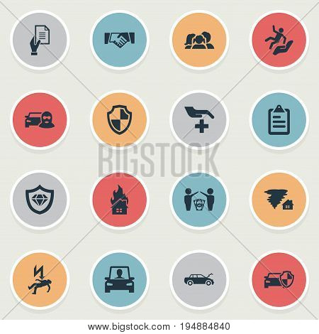 Vector Illustration Set Of Simple Warrant Icons. Elements Protect Currency, Protected Vehicle, Driving Licence And Other Synonyms Collision, Thief And Letter.