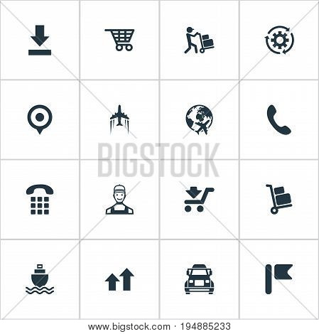 Vector Illustration Set Of Simple Engineering Icons. Elements Employee, Shopping Trolley, Courier And Other Synonyms Ship, Airplane And Baggage.