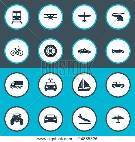 Vector Illustration Set Of Simple Transportation Icons. Elements Police Car, Motor Lorry, Downgrade And Other Synonyms Helicopter, Metro And Wheel.