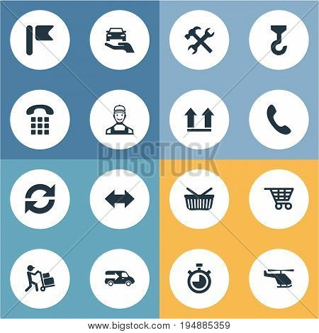 Vector Illustration Set Of Simple Logistics Icons. Elements Lorry, Flag, Countdown And Other Synonyms Chronimetr, Air And Repair.
