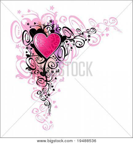 Heart of love. Vector Corner