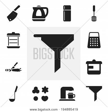 Set Of 12 Editable Cook Icons. Includes Symbols Such As Refrigerator, Shredder, Boiler And More. Can Be Used For Web, Mobile, UI And Infographic Design.