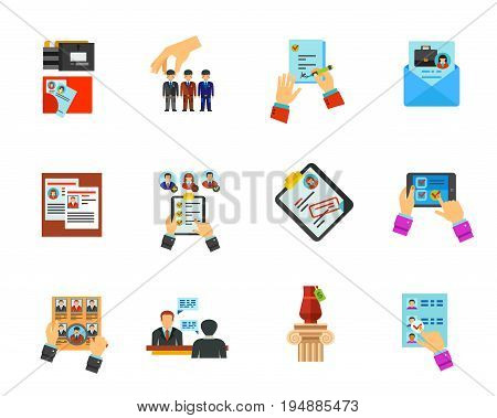 Head hunting icon set. Staff reserve Human resources Job contract Cover letter Staff reshuffle Qualification CV Head hunting Job interview. Contains bonus icon of Online test Lot Choosing candidate