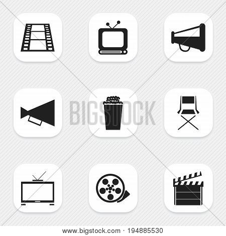 Set Of 9 Editable Filming Icons. Includes Symbols Such As Popcorn, Broadcast, Tape And More. Can Be Used For Web, Mobile, UI And Infographic Design.