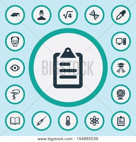 Vector Illustration Set Of Simple Study Icons. Elements Checklist, Scholar, Atom And Other Synonyms Nuclear, Scholar And Dropper.