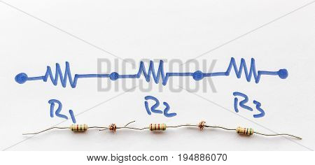 three series Connected Resistors - series circuit