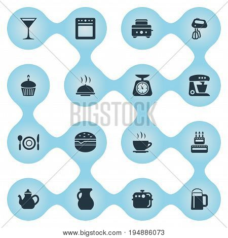 Vector Illustration Set Of Simple Cuisine Icons. Elements Cake, Catering, Muffin And Other Synonyms Pan, Pot And Beverage.