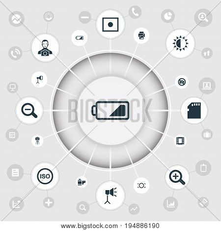 Vector Illustration Set Of Simple Photography Icons. Elements Magnifying, Cameraperson, Light Level And Other Synonyms Micro, Removal And Lustre.