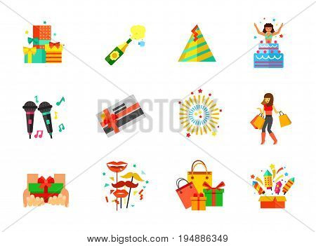 Holiday icon set. Gifts heap Champagne explosion Party hat Holiday surprise Karaoke Firework Present Shooting masks Holiday shopping Fireworks box. Contains bonus icons of Gift card and girl shopping