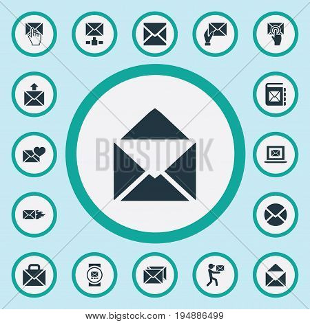 Vector Illustration Set Of Simple Mailing Icons. Elements Inbox, Post Office, Mailing And Other Synonyms Laptop, Chat And Open.