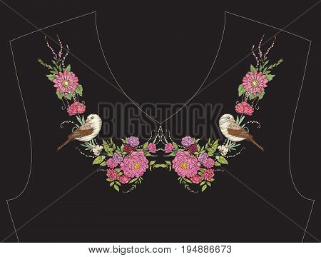 Embroidery for neckline, collar for T-shirt, blouse, shirt. Pattern of flowers and bird Stock vector illustration.