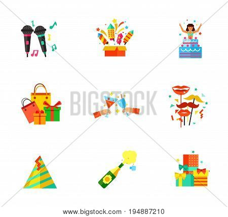 Party icon set. Karaoke Fireworks box Holiday surprise Hands holding martini Shooting masks Party hat Champagne explosion Gifts mountain heap. Contains bonus icons of Holiday shopping