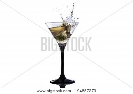 Cocktail martini with olive, a splash of vermouth in a glass