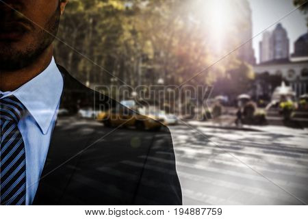 Portrait of serious businessman  against picture of a zebra crossing