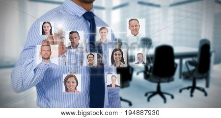 Connection between people against empty chairs and table in office