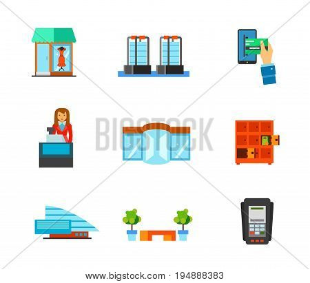 Shopping mall icon set. Showcase Anti-theft sensor gates Woman casher Revolving door Lockers Shopping mall building Shopping mall bench. Contains bonus icon of Dataphone and Mobile banking