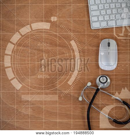 Human development illustration over black background against computer mouse and keyboard with stethoscope on wooden table