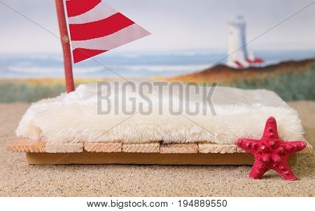 A   bed photography backdrop of a raft with a red sail, a red  starfish, a sandy beach and ocean waves with a lighthouse.