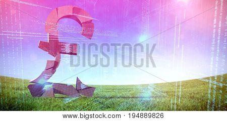 3d image of pond symbol against illustration of virtual data