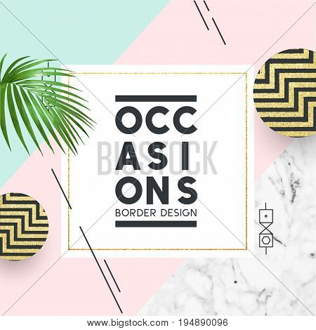 Pastel coloured fashion frame with copy space for your sign or wording.Vector illustration