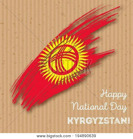 Kyrgyzstan Independence Day Patriotic Design. Expressive Brush Stroke In National Flag Colors On Kra