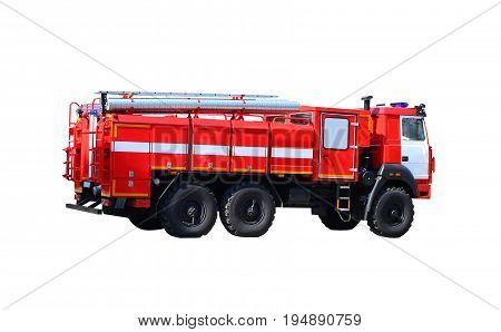 Fire truck isolated on white background, transport to eliminate fire. Fire-fighting equipment
