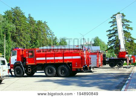 fire truck, transport to eliminate fire . Fire fighting equipment