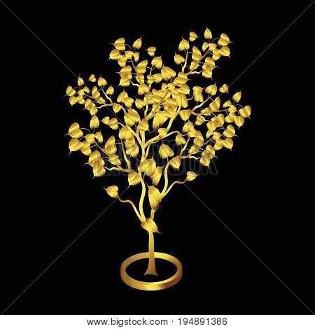 Gold Bodhi tree Isolated on black background, vector illustration.