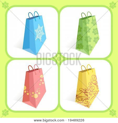 Shopping bags in different colours