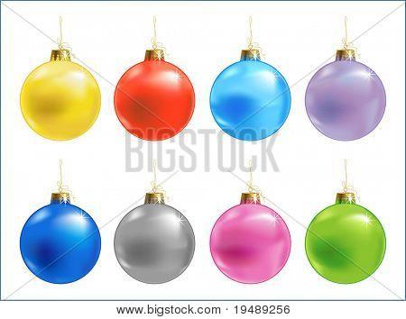 Acht verschiedene Farbe vektor weihnachten Kugel, Vektor-illustration