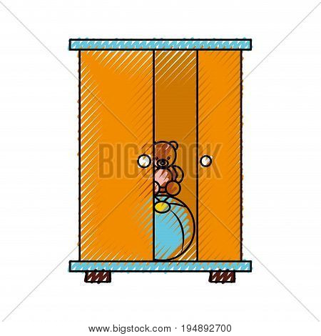 wooden closet with toys vector illustration design