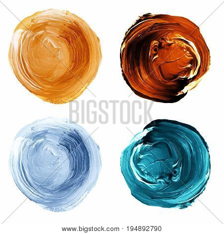 Acrylic Textured Round Painted Backgrounds, Blobs Of Blue, Mint, Yellow, Brown Colors