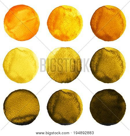 Watercolor Circles In Shades Of Yellow And Brown Colors Isolated On White Background.