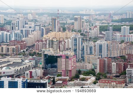 Yekaterinburg, Russia - June 3, 2017: A City Block With Modern Residential Complexes Near The Center