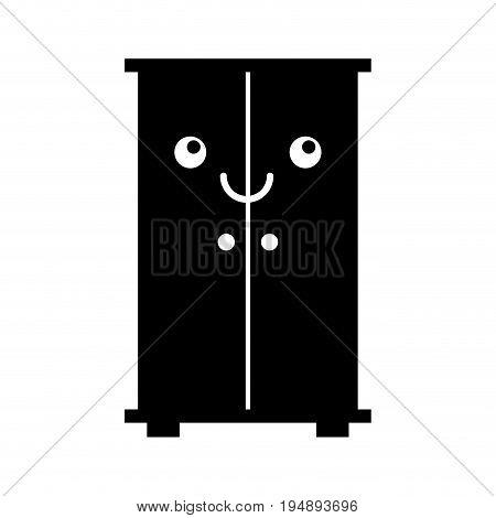 wooden closet kawaii character vector illustration design