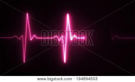 Neon Heart Beat Pulse In Pink Illustration