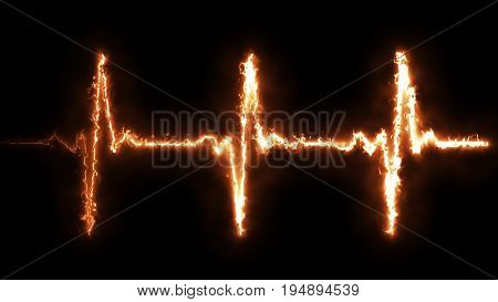 Fire Heart Beat Pulse In Fire Illustration