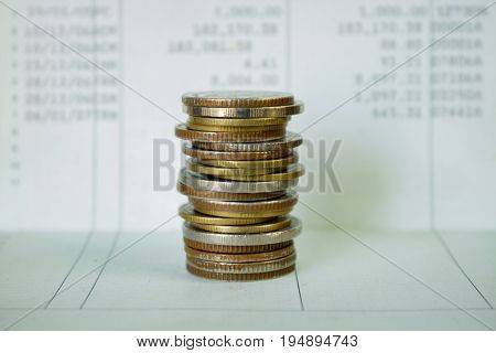 stack coins with account passbook,concept for investment,growth business.