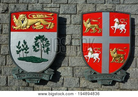 Victoria BC,Canada,January 23rd 2017.Coat of arms for the Canadian provinces of Prince Edward island and Newfoundland hang on a wall in Victoria BC.
