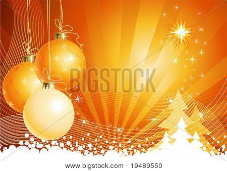 Christmas background with decorations / vector / The layers are separated